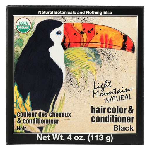 Light Mountain Hair Color-conditioner - Organic - Black - 4 Oz