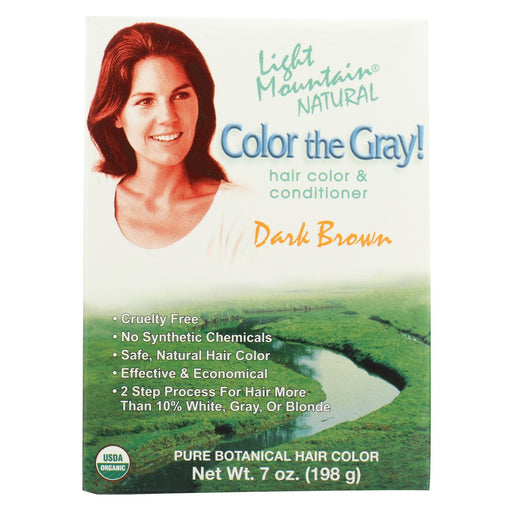 Light Mountain Hair Color - Color The Gray! Dark Brown - Case Of 1 - 7 Oz.