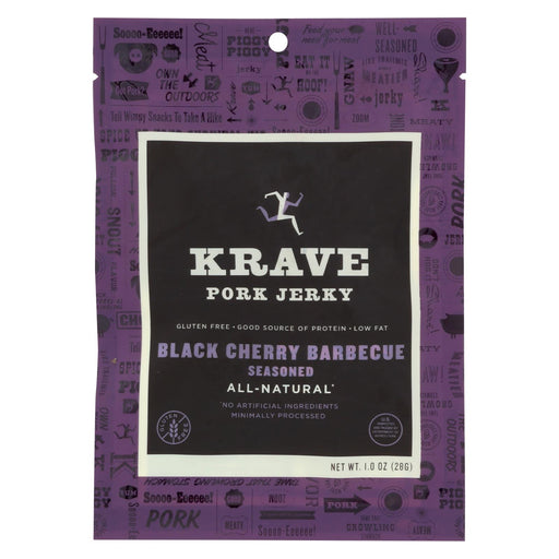 Krave Pork Jerky - Black Cherry Barbecue Seasoned - Case Of 18 - 1 Oz