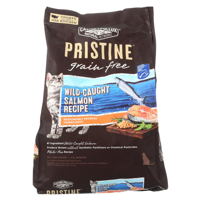 Castor And Pollux Pristine Grain Free Dry Cat Food - Wild-caught Salmon - Case Of 5 - 3 Lb.