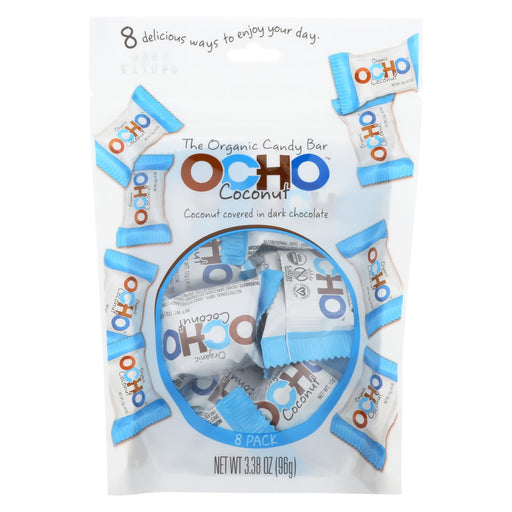 Ocho Candy Organic Coconut Mini Bars - In Dark Chocolate - Case Of 12 - 3.5 Oz