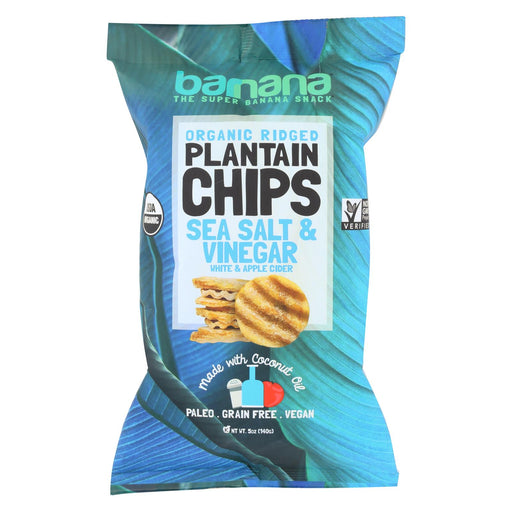 Barnana Plantain Chips - Sea Salt And Vinegar - Case Of 8 - 5 Oz.