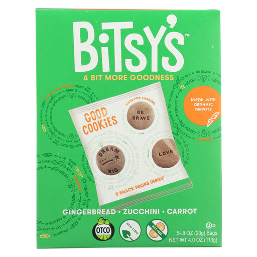 Bitsys Brainfood Cookies Gingerbread Zucchini Carrot - Case Of 6 - 5-4 Oz.