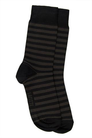 LAFITTE BAMBOO STRIPE SOCK - BLACK/CHARCOAL