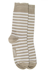 LAFITTE BAMBOO STRIPE SOCK - WHITE/PUTTY