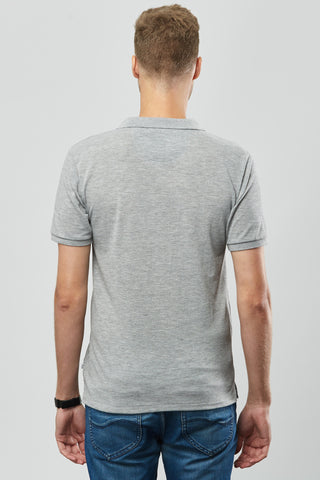 Beren of L.A Pique Polo Tee - Grey