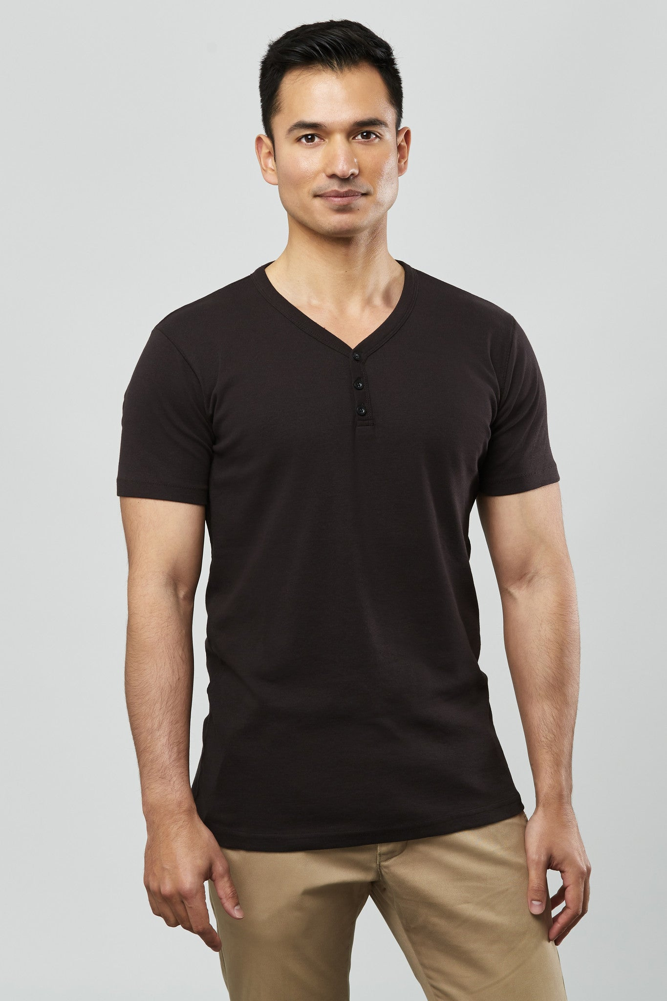 Beren of L.A Short Sleeve Single Rib Henley - Black