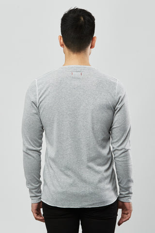 Beren of L.A Single Rib Henley - Grey