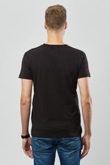 Beren of L.A V Neck Tee With Logo - Black