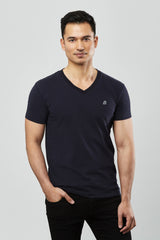 Beren of L.A V Neck Tee with Logo - Navy Blue