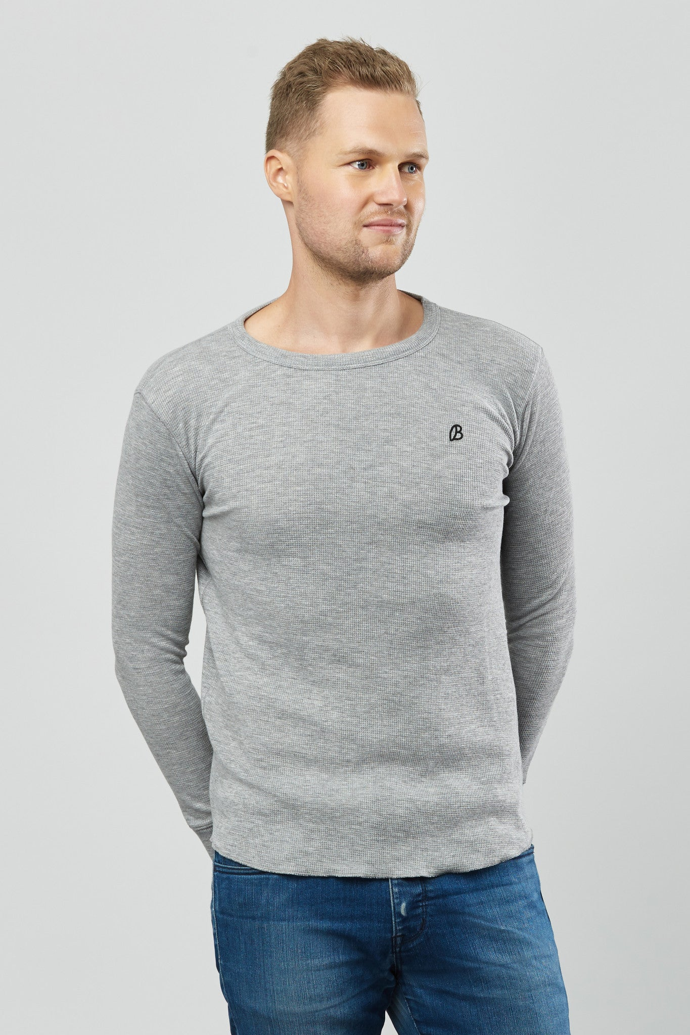 Beren of L.A Waffle Sweater - Grey