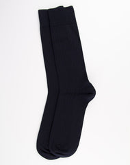 Escuyer Classic Ribbed Socks - Navy