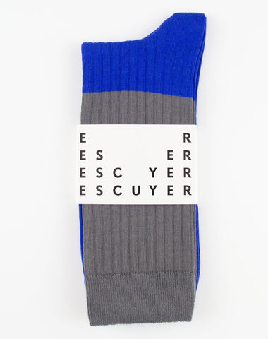 Escuyer Color Block Socks Gargoyle/Strong Blue