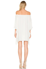 Krisa Draped Off Shoulder Mini Dress- White