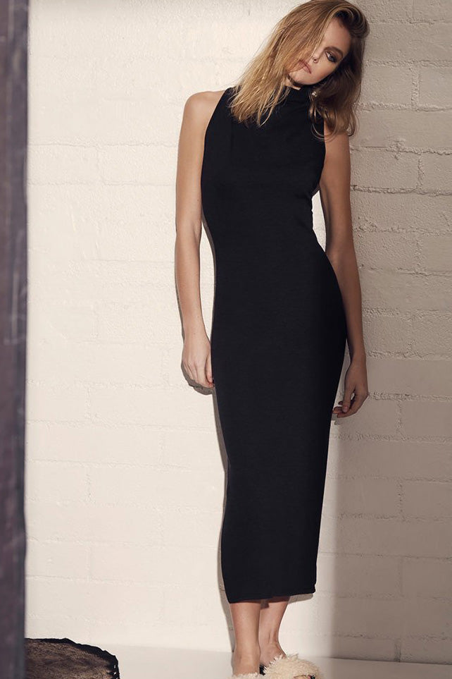 Lanston Turtleneck Slit Dress - Black