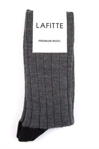 LAFITTE RIBBED WOOL SOCKS - GREY