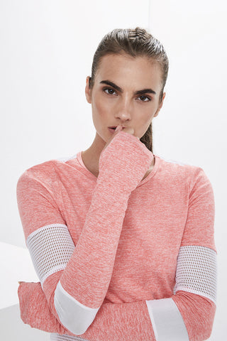 Lanston Sport Tucker Paneled L/S - Coral