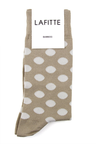 LAFITTE BAMBOO SPOTTY SOCK - WHITE/PUTTY