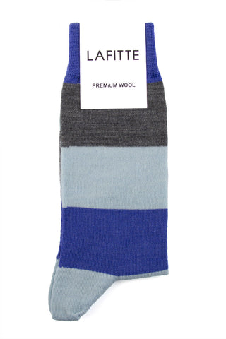 LAFITTE WOOL BLOCK SOCKS - BLUE/GREY/SKY