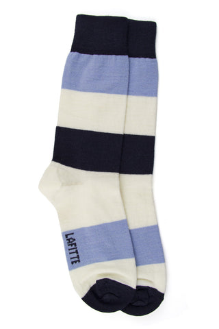 LAFITTE WOOL BLOCK SOCKS - BLUE/WHITE/SKY