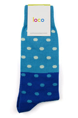 LOCO COTTON SPOTTY SOCKS - AQUA/ROYAL/MINT