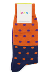 LOCO COTTON SPOTTY SOCKS - ORANGE/NAVY/PURPLE