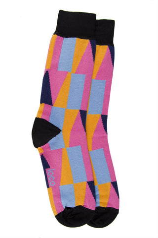 LOCO COTTON SHAPE SOCKS - BLACK/PINK/LAKESIDE