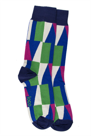 LOCO COTTON SHAPE SOCKS - NAVY/ROYAL/GRASS