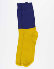 Escuyer Color Block Socks - Blue Print/Honey
