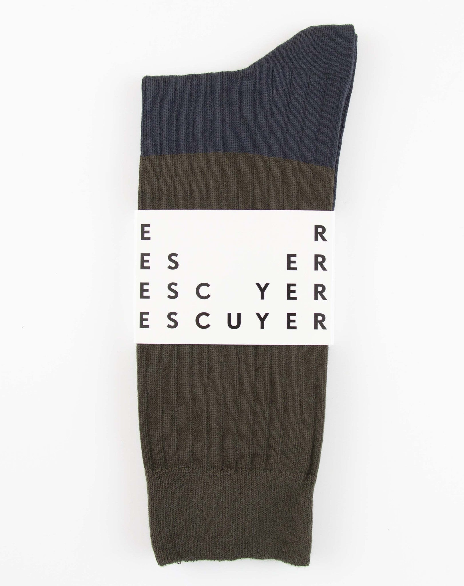 Escuyer Color Block Socks Gunmetal/Blue Nights