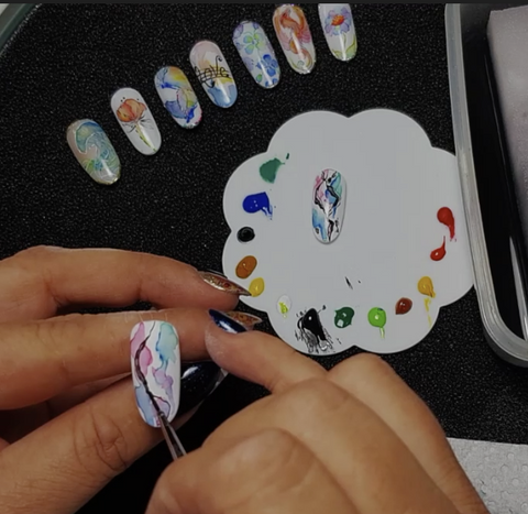 Watercolor Painting Nail Art Class