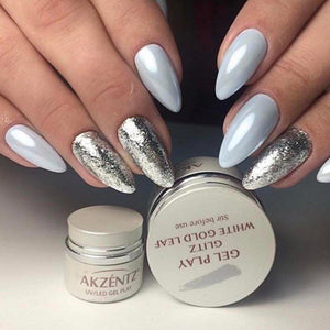 UV/LED GEL PLAY - GLITZ WHITE GOLD LEAF