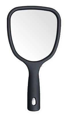 Large dual sided handheld mirror.  Black finish with large glass mirror, and 2 magnified mirrors