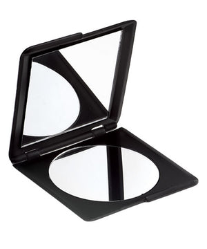 Dual glass mirrors with one magnified for examining detail. Beveled case in matte black finish.
