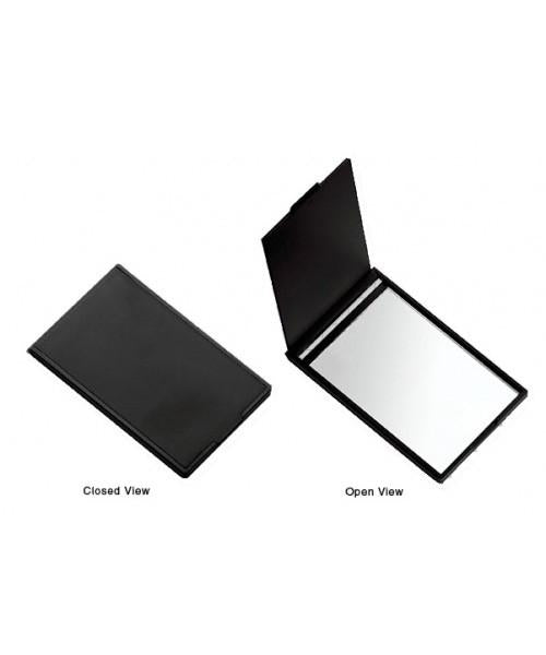 Slim credit card sized glass mirror, Black Matte. 2″ x 3.5″. The perfect fit for any pocket or purse!