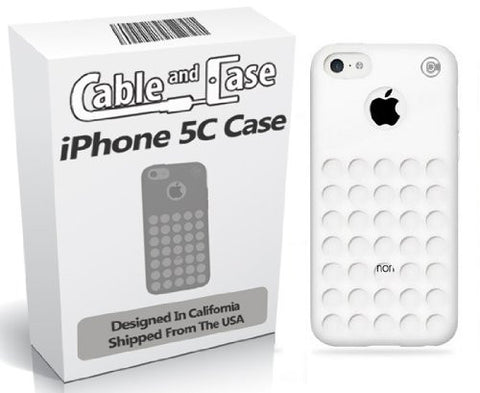 iPhone 5C Case, iPhone 5C cases- [2 PACK] White Phone Case 5c Soft Skin Case With Screen Protector For The New iPhone 5C In Retail Package - Circle Colors - Dots Holes - Shell - Skin Cover Designed And Shipped From The USA By Cable and Case¨