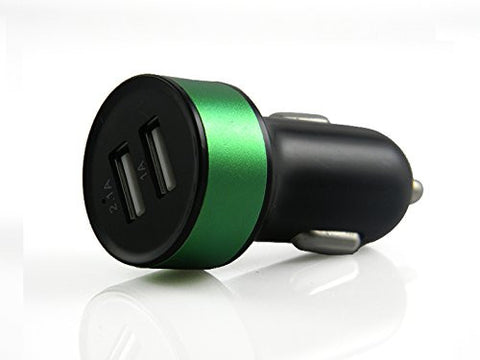 Galaxy S5 Car Charger, Samsung Galaxy S6 Car Charger- Galaxy S6 Edge car charger- [Dual Port] For The Samsung Galaxy S5, Galaxy Note 3, Galaxy Note 4, and Galaxy S4 - Samsung Compatible Car Charger by Cable and Case® - Black/Green