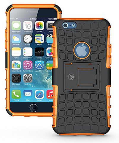 iPhone 6 Case, iPhone 6S Case by Cable and Case - iPhone 6 [HEAVY DUTY] Cases [iPhone6 6S - 4.7] Tough Dual Layer 2 in 1 Rugged Rubber Hybrid Hard/Soft Drop Impact Resistant Protective Cover [With Kickstand] Designed and shipped from the U.S.A. - Orange A