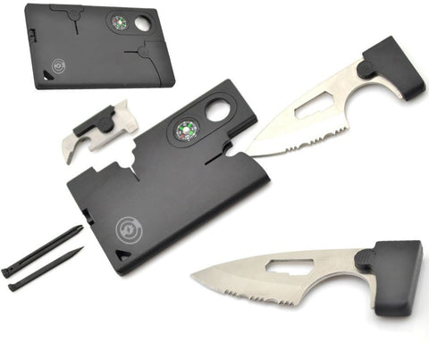 Credit Card Tool [1 Pack] Survival Pocket Knife By Cable And Case [CCMT1] Credit Card Comrade Survival Card - The Best 10 in 1 Multitool Emergency Survival Companion