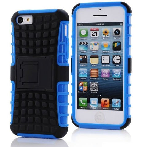 iPhone 5C Case, iPhone 5C Armor cases- [2 Pack] Tough Armorbox Dual Layer Hybrid Hard/Soft Protective Case With Screen Protector by Cable and Case - Blue Armor Case