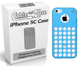 iPhone 5C Case, iPhone 5C Cases [2 Pack] - iPhone 5C Soft Skin Case For The New iPhone 5C - Circle Colors - Dots Holes - Shell - Skin Cover By Cable and Case® - 2 Blue Cases