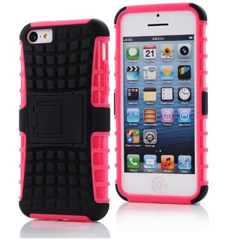 iPhone 5C Case, iPhone 5C Armor cases- [2 Pack] Tough Armorbox Dual Layer Hybrid Hard/Soft Protective Case With Screen Protector by Cable and Case - Pink Armor Case