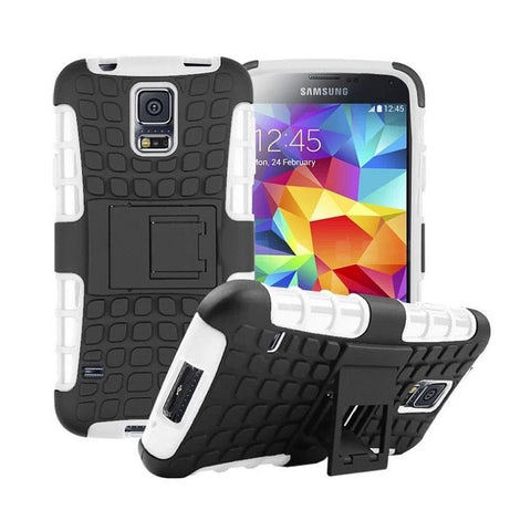 Galaxy s5 Case, [Heavy Duty] Galaxy s5 Armor cases- [Eternity Series] Tough [Rubber] Rugged Shockproof Dual Layer Hybrid Hard/Soft Slim Protective Case (For the Galaxy S5) by Cable and Case - (White)