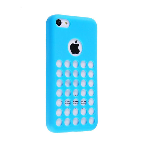 Cable and Case Circle Dot Holes Soft Skin Case for iPhone 5C - Retail Packaging - Blue