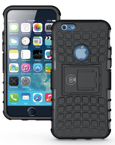 iPhone 6 Case, iPhone 6S Case by Cable and Case - iPhone 6 [HEAVY DUTY] Cases [iPhone6 6S - 4.7] Tough Dual Layer 2 in 1 Rugged Rubber Hybrid Hard/Soft Drop Impact Resistant Protective Cover [With Kickstand] Designed and shipped from the U.S.A. - Black Ar