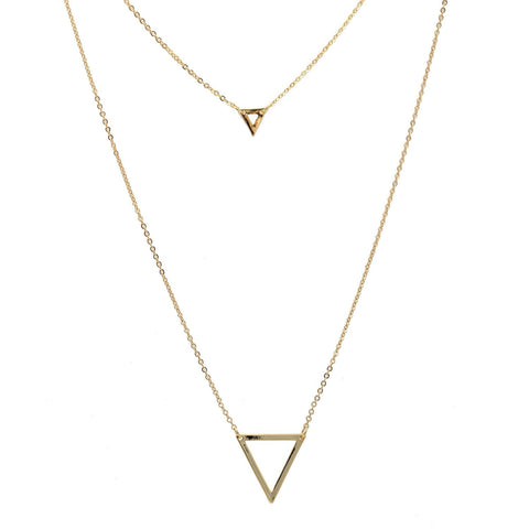 Spinningdaisy Geometric Series Layering Double Triangle Strand Necklace