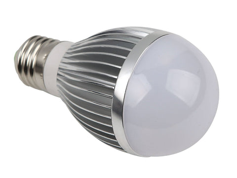 Silver 50W Equivalent LED Bulb - E27 White LED Light Bulb By Cable and Case - Less Energy Than 50 Watt Incandescent or Fluorescent