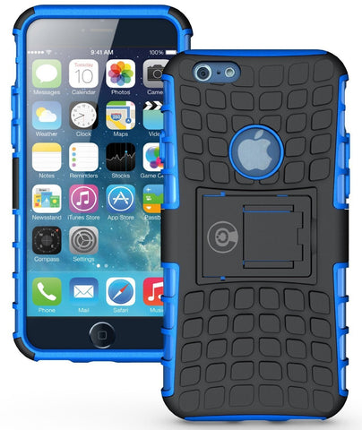 iPhone 6 Case, iPhone 6S Case by Cable and Case - iPhone 6 [HEAVY DUTY] Cases [iPhone6 6S - 4.7] Tough Dual Layer 2 in 1 Rugged Rubber Hybrid Hard/Soft Drop Impact Resistant Protective Cover [With Kickstand] Designed and shipped from the U.S.A. - Blue Arm