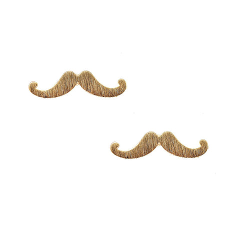 Spinningdaisy Handcrafted Brushed Metal Retro Mustache Stud Earrings
