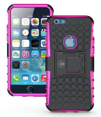 iPhone 6 Case, iPhone 6S Case by Cable and Case - iPhone 6 [HEAVY DUTY] Cases [iPhone6 6S - 4.7] Tough Dual Layer 2 in 1 Rugged Rubber Hybrid Hard/Soft Drop Impact Resistant Protective Cover [With Kickstand] Designed and shipped from the U.S.A. - Pink Arm